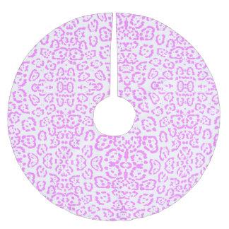 Impressão animal da chita cor-de-rosa de néon saia para árvore de natal de poliéster