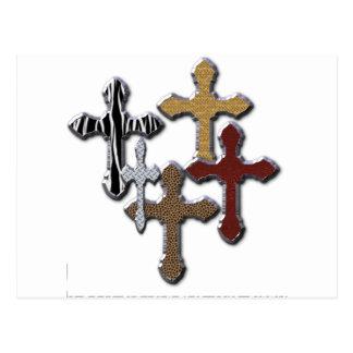 Impressão animal da colagem das cruzes mais o cartão postal