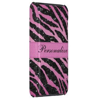 Impressão animal da zebra cor-de-rosa & preta do capa para iPod touch