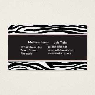 Impressão animal das listras preto e branco da cartão de visitas