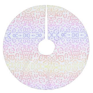 Impressão animal do arco-íris Pastel do leopardo Saia Para Árvore De Natal De Poliéster