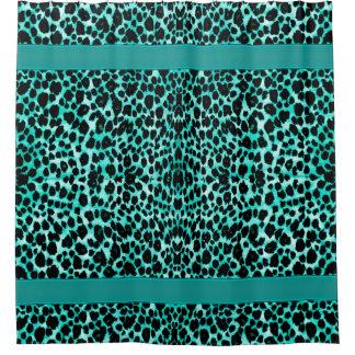 Impressão animal do leopardo do verde azul da cortina para chuveiro