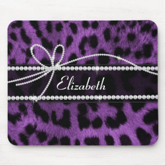 Impressão animal do leopardo roxo na moda bonito d mouse pad