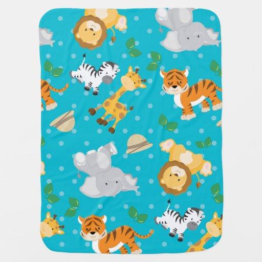 Impressão animal do safari bonito cobertores de bebe