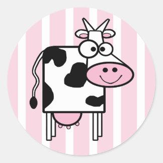 Impressão animal feminino de sorriso da vaca adesivos em formato redondos