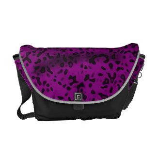 Impressão animal roxo do leopardo dos gatos bolsa mensageiro
