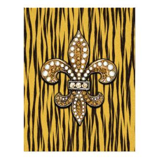Impressão animal Tigre Fleur Di Lis Jóia Modelo De Papel De Carta