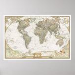 Impressão antigo do poster do mapa do mundo