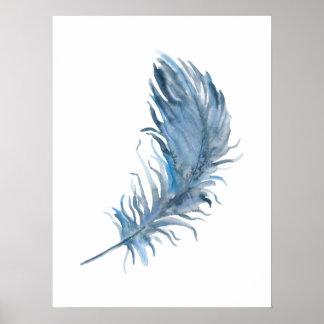 Impressão azul da pena de Boho da aguarela