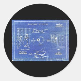 Impressão azul da vitória adesivos redondos