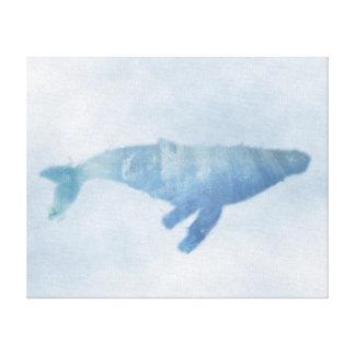 Impressão azul das canvas da baleia de Humpback
