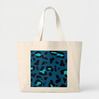 Impressão azul do leopardo bolsa tote grande