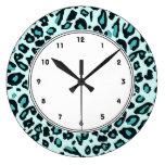 Impressão azul do leopardo relógios para paredes