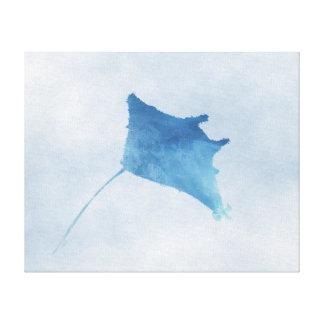 """Impressão azul do raio de Manta - canvas (20"""""""