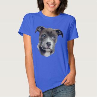 Impressão azul do retrato do cão de Pitbull T-shirt