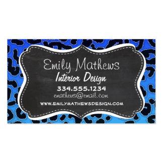 Impressão azul elétrico do leopardo; Olhar do Cartão De Visita