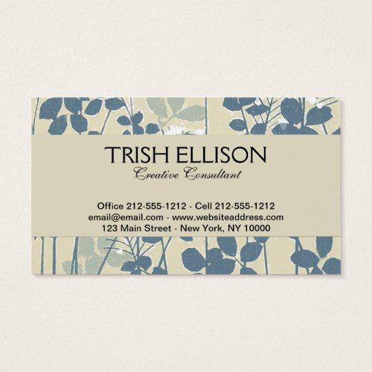 Impressão azul floral da flor da arte asiática cartão de visitas