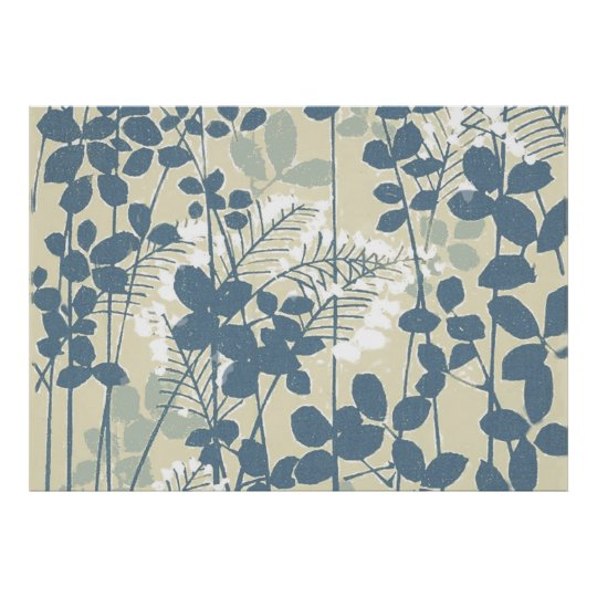 Impressão azul floral das flores da arte asiática