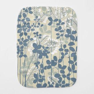 Impressão azul floral das flores da arte asiática fraldinha de boca