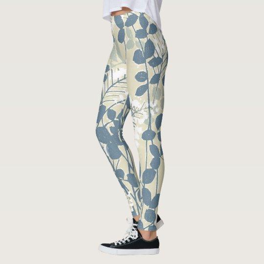 Impressão azul floral das flores da arte asiática leggings