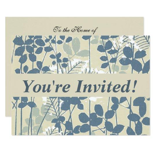 Impressão azul floral das flores da arte japonesa convite 11.30 x 15.87cm