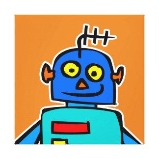 Impressão azul grande das canvas do robô
