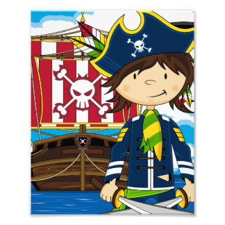 Impressão bonito da foto do pirata e do navio