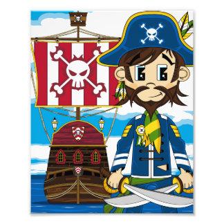 Impressão bonito da foto do pirata e do navio impressão de foto