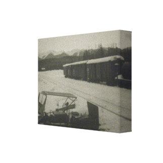 Impressão branco preto das canvas do trem & do tro impressão de canvas esticadas