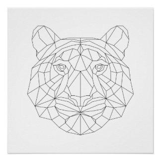 Impressão branco preto geométrico principal da poster perfeito