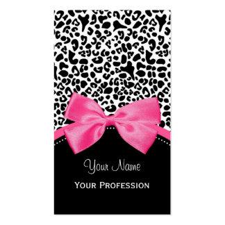 Impressão chique do leopardo da forma com a fita cartão de visita