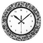 Impressão cinzento do leopardo relógio para parede