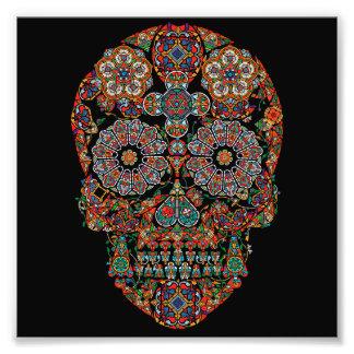 Impressão colorido da foto do crânio do açúcar da