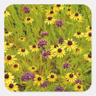 Impressão colorido do jardim do echinacea adesivo quadrado