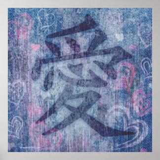 Impressão cor-de-rosa azul chinês do poster do