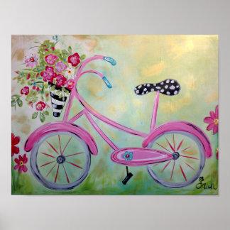 Impressão cor-de-rosa da bicicleta