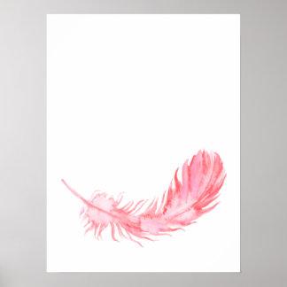 Impressão cor-de-rosa da pena de Boho da aguarela