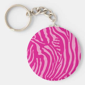 Impressão cor-de-rosa da zebra de Fuscia Chaveiros