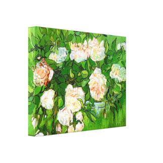 Impressão cor-de-rosa das canvas dos rosas de Van