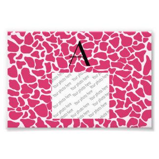 Impressão cor-de-rosa do girafa do monograma fotos