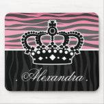 Impressão cor-de-rosa e preto da princesa feminino mousepads