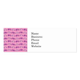 Impressão cor-de-rosa e roxo bonito das bicicletas cartão de visita skinny