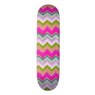 Impressão cor-de-rosa feminino da foto do brilho shape de skate 20cm
