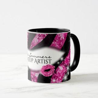 Impressão cor-de-rosa Glam da zebra dos lábios do Caneca
