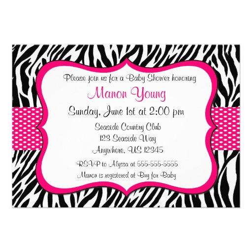 Impressão cor-de-rosa Invitaiton da zebra Convite Personalizado