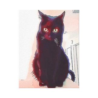 Impressão curioso das canvas do gato preto