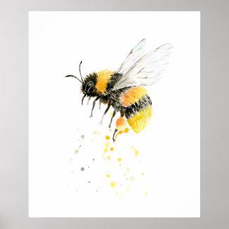 Impressão da abelha do mel da aguarela
