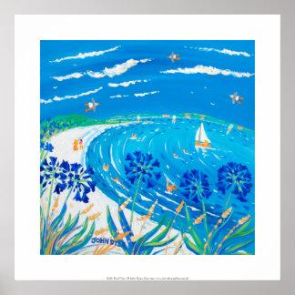 Impressão da arte: Agapanthus, praia da baía de