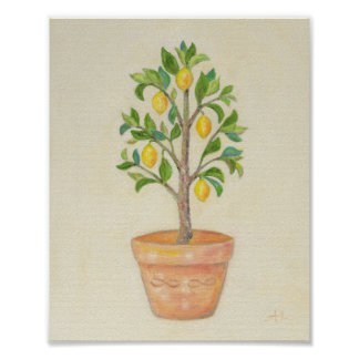 Impressão da arte da árvore de limão