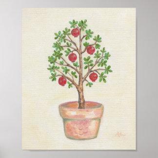 Impressão da arte da árvore de romã